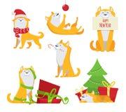 Gelber Hund in der Karikaturart Symbole von 2018 Charakter des lustigen Haustieres Lizenzfreie Stockbilder