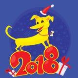 Gelber Hund ist das chinesische Tierkreissymbol des neuen Jahres 2018 Stockbilder