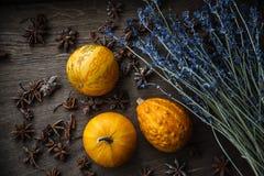 Gelber Kürbis-, Lavendel- und Sternanis auf hölzernem Hintergrund lizenzfreie stockfotos