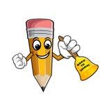 Gelber Karikaturbleistift mit Glocke und Text zurück zu Schule stock abbildung