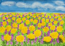 Gelber Löwenzahn und purpurrote Frühlingsblumen stockfotos