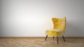Gelber Lehnsessel im Raum Stock Abbildung