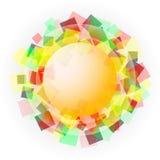 Gelber lichtdurchlässiger Bereich mit farbigen Quadraten Lizenzfreies Stockbild