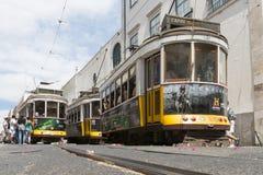 Gelber Lissabon-Förderwagen Stockfoto