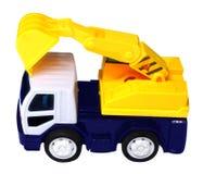 Gelber LKW mit einem Schaber, zum der Ladung anzuheben lizenzfreie stockfotos