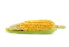 Gelber Mais mit Blatt auf Weiß Stockfotos