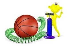 Gelber Mann pumpt einen Ball für Basketball Stockfotografie