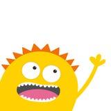 Gelber Monsterkopf mit zwei Augen, Zähne, Zunge, wellenartig bewegende Hand Lustige nette Zeichentrickfilm-Figur Babysammlung Glü Lizenzfreie Stockfotografie