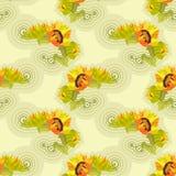 Gelber nahtloser Hintergrund der Sonnenblumen mit grünen Blättern Stockfoto