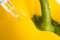 Gelber Paprika und Einspritzung Stockfoto