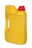 Gelber Plastikkanister für Haushaltschemikalien Lizenzfreie Stockfotos