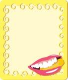 Gelber Rahmen mit den Lippen der Frau Stockbild