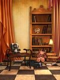 Gelber Raum mit Spielwaren und Büchern Stockbild