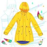 Gelber Regenmantel des Vektors auf weißem Hintergrund lizenzfreie abbildung