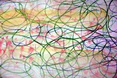 Gelber rosa Aquarellhintergrund mit Bleistiftlinien Stockbilder