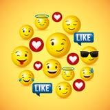 Gelber runder Gesichtshintergrund Emojis lizenzfreie stockfotos