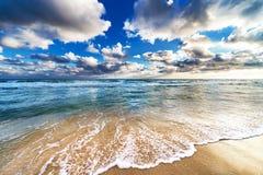 Gelber sandiger Strand Stockbild