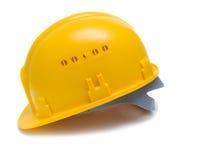 Gelber schützender Sturzhelm Stockfoto