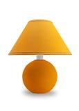Gelber SchreibtischLampentopf auf einem weißen Hintergrund Stockbild