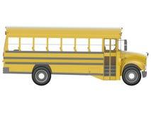 Gelber Schulbus mit rotem Stoppschild Transport von Wiedergabe der Studenten- oder Kinderseite oder der isometrischen Ansicht 3d stock abbildung