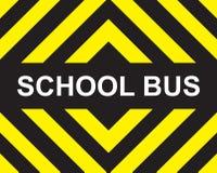 Gelber schwarzer Pfeil des Schulbusses vektor abbildung