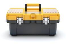 Gelber schwarzer Plastikwerkzeugkasten Stockfotos