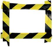 Gelber schwarzer Vorsicht-warnendes Band-Mitteilungs-Zeichen-Rahmen, horizontaler klebender Aufkleber-Hintergrund, diagonale Gefa Lizenzfreie Stockfotografie