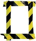 Gelber schwarzer Vorsicht-warnendes Band-Mitteilungs-Zeichen-Rahmen, vertikaler klebender Aufkleber-Hintergrund, diagonale Gefahr Lizenzfreie Stockfotografie