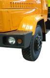 Gelber schwerer Ladung-DiesellKW (Kraftstofflastwagen) stockfotos