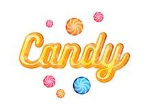 Gelber Süßigkeits-Guss-Überschrifts-Vektor für Poster Stockfotos