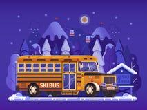 Gelber Ski Bus Shuttle auf Winter-Hintergrund lizenzfreie abbildung