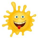 Gelber smileygesichts-Spritzencharakter Lizenzfreies Stockbild