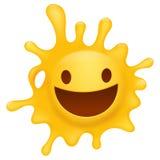 Gelber smileygesichts-Spritzencharakter Stockfotos
