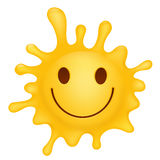 Gelber smileygesichts-Spritzencharakter Stockbild