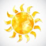 Gelber Sonnenaufkleber von Dreiecken Stockfoto
