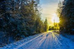 Gelber Sonnenuntergang auf einer schneebedeckten Landschaftsstraße Stockfotos