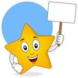Gelber Stern-Charakter, der leeres Zeichen hält Stockfotografie
