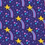 Gelber Stern mit Rosa, blaues, violettes Endstück Kleine Galaxie mit Rosa, violette, blaue Sterne vektor abbildung