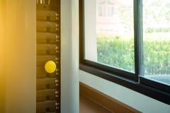Gelber Stift von den Stapelmetallgewichten stockbild