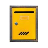 Gelber Straße Postbox lokalisiert auf Weiß Lizenzfreie Stockfotos