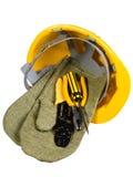 Gelber Sturzhelm, Handschuhe, Instrument Lizenzfreie Stockfotografie
