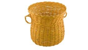 Gelber traditioneller handgefertigter Weidenkorb lizenzfreies stockbild