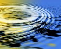 Gelber und blauer gewellter abstrakter seidiger Hintergrund lizenzfreie abbildung