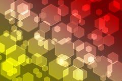 Gelber und roter Konzepthintergrund Bokeh Stockbild