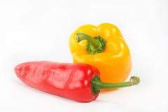 Gelber und roter Pfeffer des Paprikas Stockfotografie