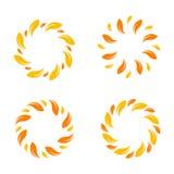 Gelber Vektor treibt Grenze Blätter Stilvolles Kreisdesign Stockfotos
