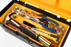 Gelber Werkzeugkasten Stockfotografie
