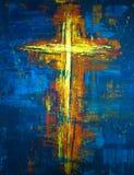 Gelbes abstraktes Kreuz Stockbilder