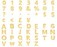 Gelbes Alphabet mit Zahlen, Interpunktion und Symbole, Währungskennzeichen schnitzten vom Papier mit weichem Schatten Origami 3D vektor abbildung