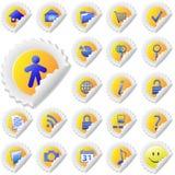 Gelbes Aufkleber-Schalen-Ikonen-Set Stockfoto